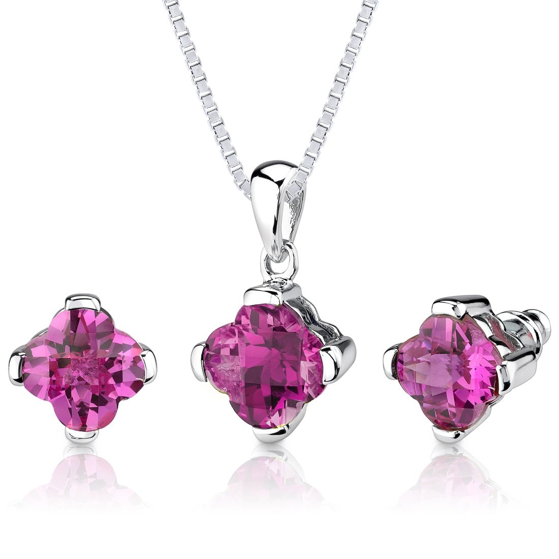 Peora Created Pink Sapphire Pendant Earrings Set Sterling Silver Lily Cut 10.25 Carats