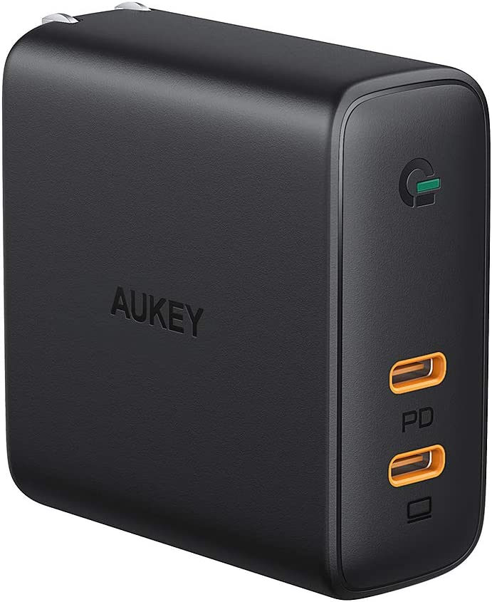 AUKEY USB C Charger, USB PD Charger 60W PD 3.0 with Dynamic Detect [GaN Power Tech], 45W & 18W USB C Dual Port for MacBook Pro, iPhone 11 Pro, AirPods ...