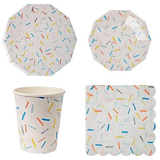 LianLe parte papel vajilla platos, vasos, servilletas ...