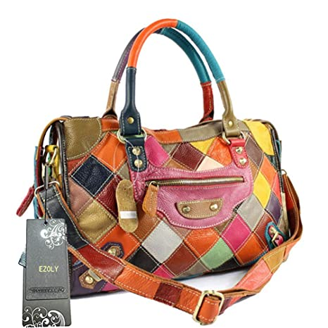 EZOLY Multicolour Patchwork Real Leather Bag Handbag Shoulder Bag Cross  Body Bag Hobo bag  Amazon.co.uk  Luggage