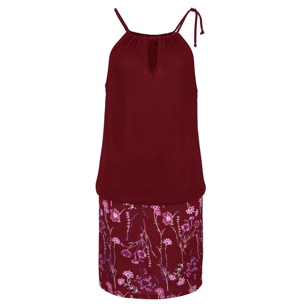 Womens Halter Neck Dress,Boho Printing Racerback Sleeveless Casual Patchwork Mini Dress