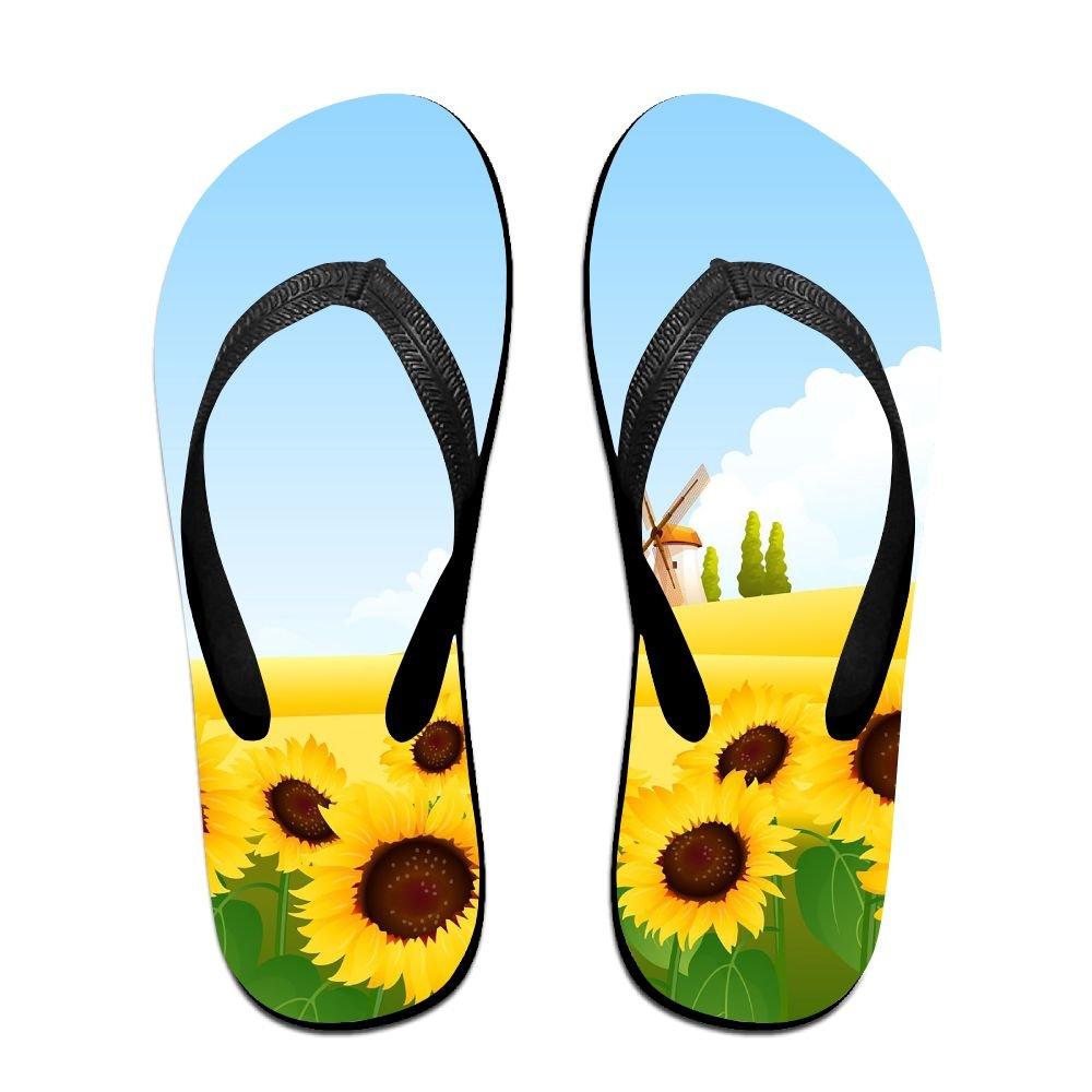 5a777a971 Amazon.com  Unisex Summer Beach Slippers Sunflower Flip-Flop Flat Home  Thong Sandal Shoes  Clothing