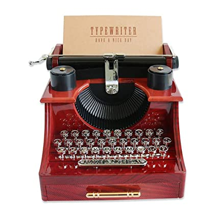 Caja de música modelo de máquina de escribir de madera, cajas de música antiguas clásicas