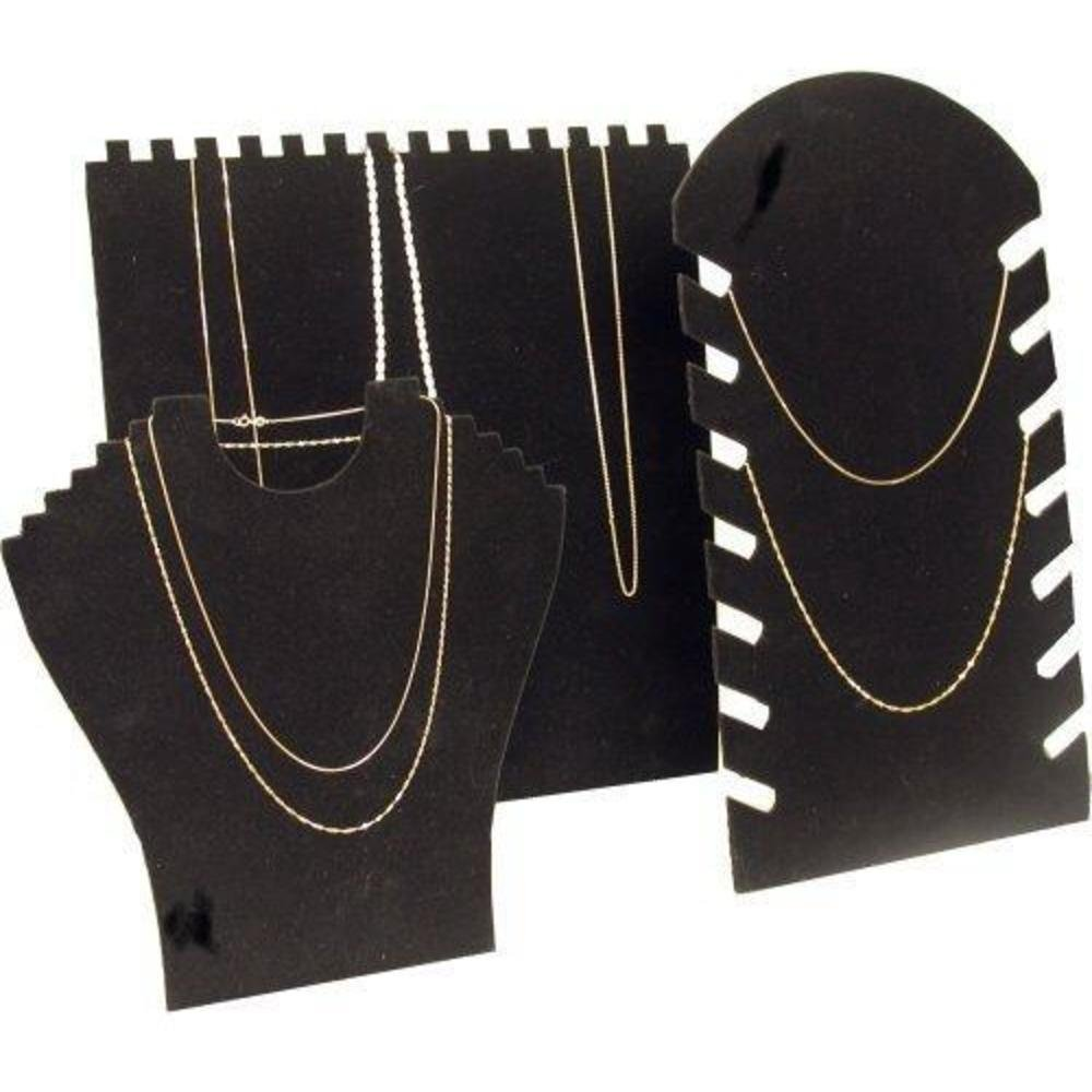 3 Black Necklace Chain Easel Display Stands Showcase KIT-807