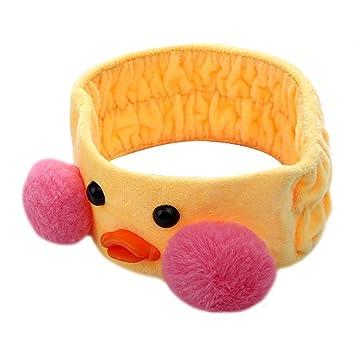 Amazon.com   Aisa Girls Fashion Cute Duck Washing Face Hair Hoop Headband  Makeup Shower Headwear (Yellow)   Beauty 7d71b8e8d06