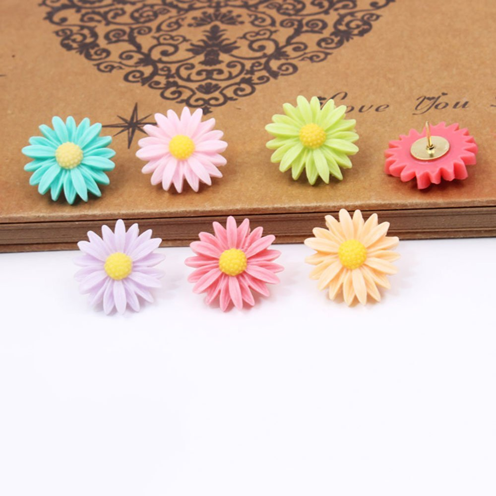 Yalis 24 Pcs Decorative Thumbtacks Colorful Floret and Bees Pushpins for Feature Wall, Whiteboard, Corkboard, Photo Wall