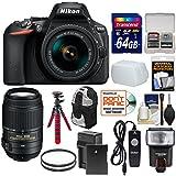 Nikon D5600 Wi-Fi Digital SLR Camera & 18-55mm VR DX AF-P + 55-300mm VR Lens + 64GB Card + Backpack + Flash + Battery & Charger + Flex Tripod Kit