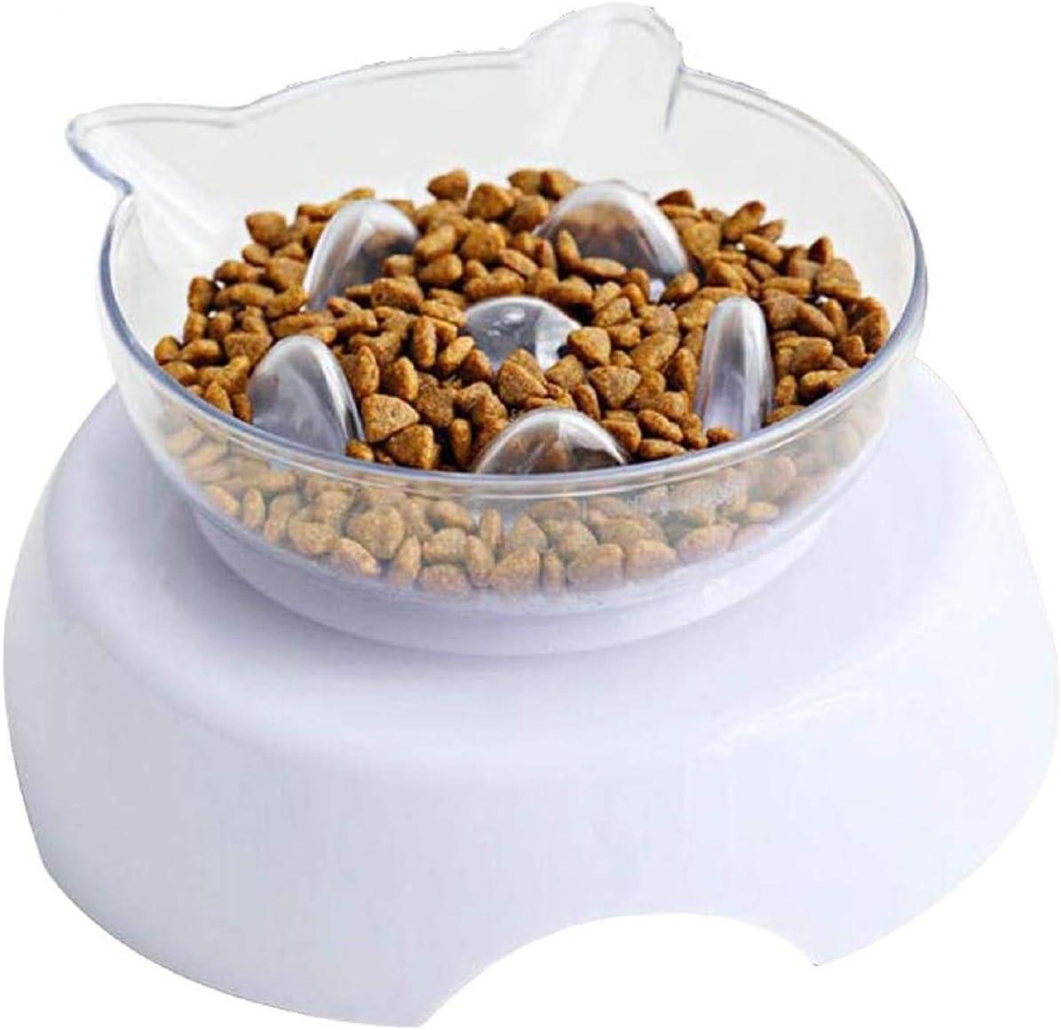 Toulifly Comedero Gato,Cuenco Gato,Cat Bowl,Dog Bowl,Tazón para Perro,Tazón para Mascotas,para Gatos y Perros,Inclinado a 15°,Transparente,con Soporte Elevado y Diseño Antideslizante