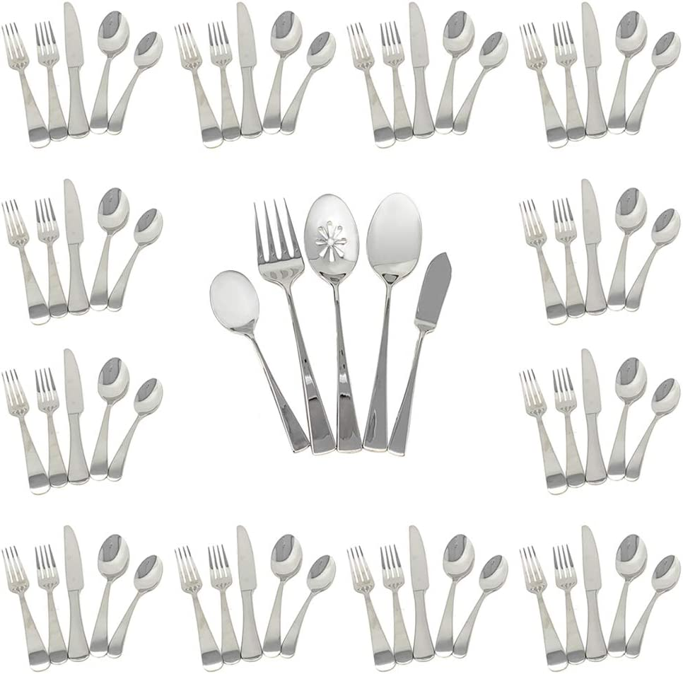 Mikasa 5251710 Satin Kinsley 65-Piece 18/10 Stainless Steel Flatware Set with Hostess Set Included, Service for 12