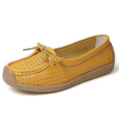 Z.SUO Mujer Mocasines de Cuero Moda Loafers Casual Zapatos de Conducción Zapatillas: Amazon.es: Zapatos y complementos