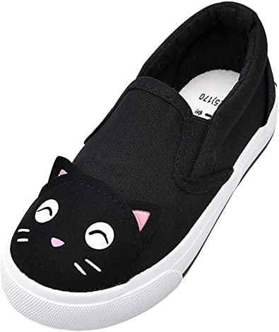 Toddler//Little Kid//Big Kid HW-GOODS Unisex Kids Canvas Sneakers Casual Slip-on Shoes White