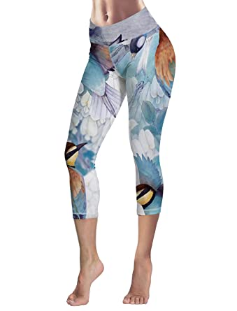 d2830b911f1750 Prironde Women Leggings Spring Birds and Flowers 3/4 Yoga Pants High Waist  Trousers Workout