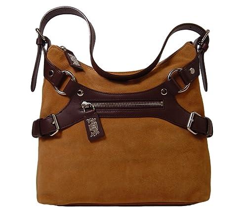 c843537472 Amazon.com  Tempo by Leonello Borghi Maria Suede Top Zip Shoulder Bag -  Hazel  Shoes