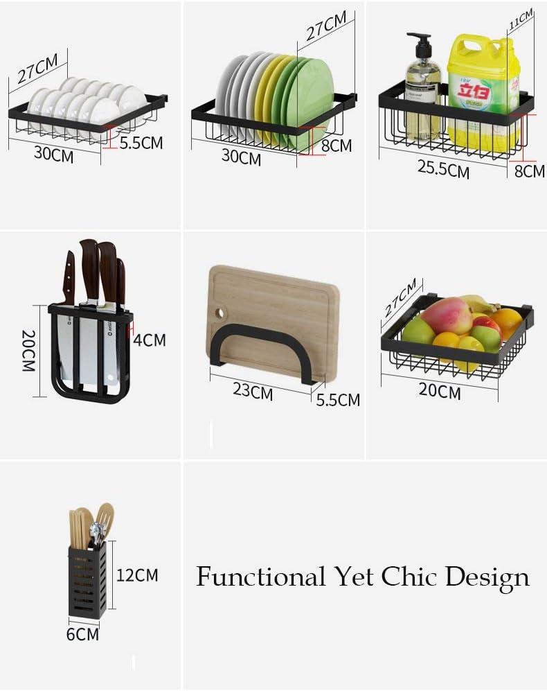 para fregadero de cocina estante de almacenamiento con palillos de acero inoxidable cuchillos y tabla de cortar Escurridor de platos de 2 niveles de 85 x 52 x 32 cm