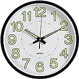WINOMO ウォールクロックサイレントムーブメントと装飾的な壁時計ホームリビングルーム12インチ/ 30センチメートル(ブラック)のためのシンプルな光る時計