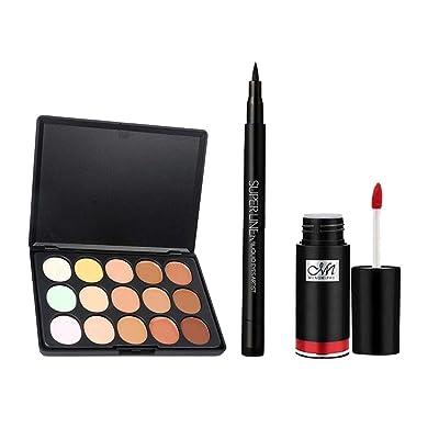 Baoblaze Lasting 15 Color Concealer Palette Eye Liner Lip Gloss Makeup Comestics Kit