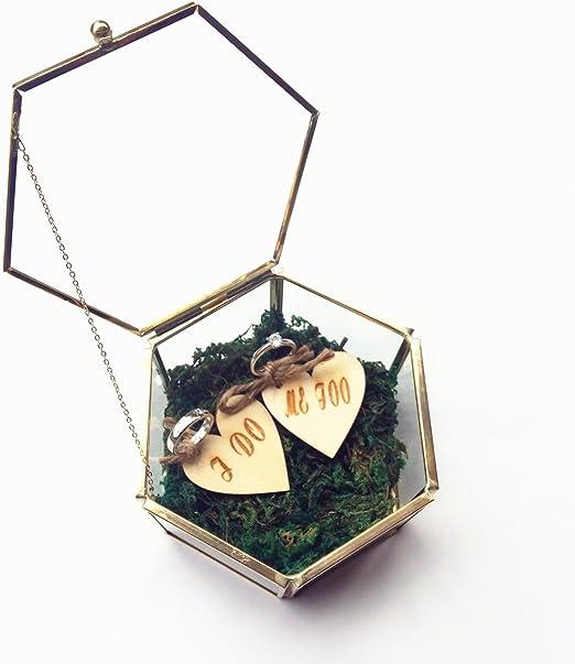 Caja hexagonal para anillos de boda, con diseño de