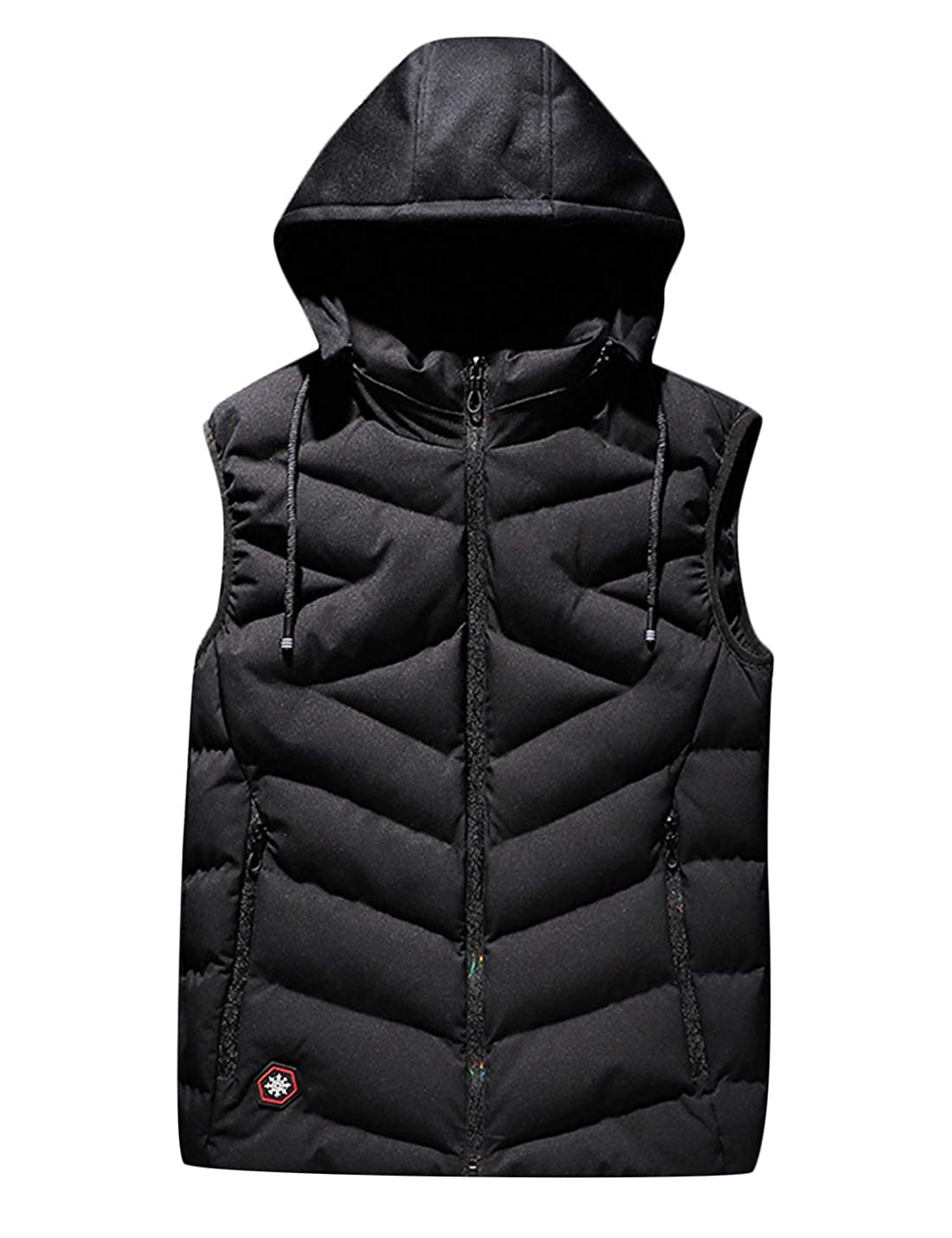 Uaneo Mens Thicken Warm Sleeveless Quilted Puffer Vest Jacket with Black Hood