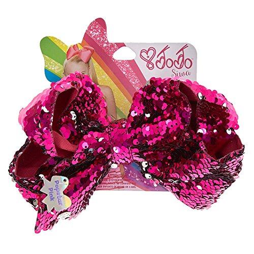 (JoJo Siwa Large Popstar Pink Reverse Sequin Dance Hair Bow)