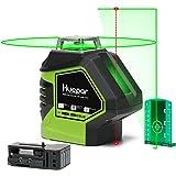 Huepar 621CG 1 x 360 Niveau Laser Croix Vert avec 2 Points Laser, Lignes Laser Auto-nivellement avec Point d'Aplomb et Mode Pulsé Extérieur, Distance de Travail 25m, Support Magnétique Incluse