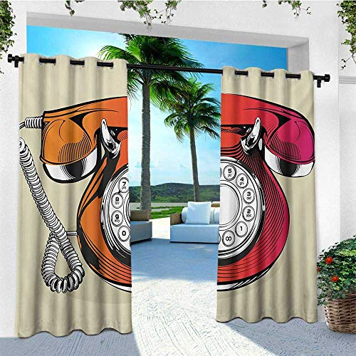 (leinuoyi Red, Outdoor Curtain Ties, Illustration of a Classic Retro Telephone with Numbers Vintage Art Design Print, Fabric by The Yard W108 x L96 Inch Red and Beige)