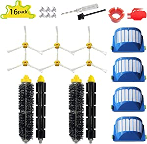 SENNII 16-Pack Replacement Parts Kit for iRobot Roomba Accessories 600 Series:690 670 671 680 650 630 614 660 651(Not for 645 655)& 500 Series 595 585 564 552 595 585 Vacuum Cleaner Replenishment Kit