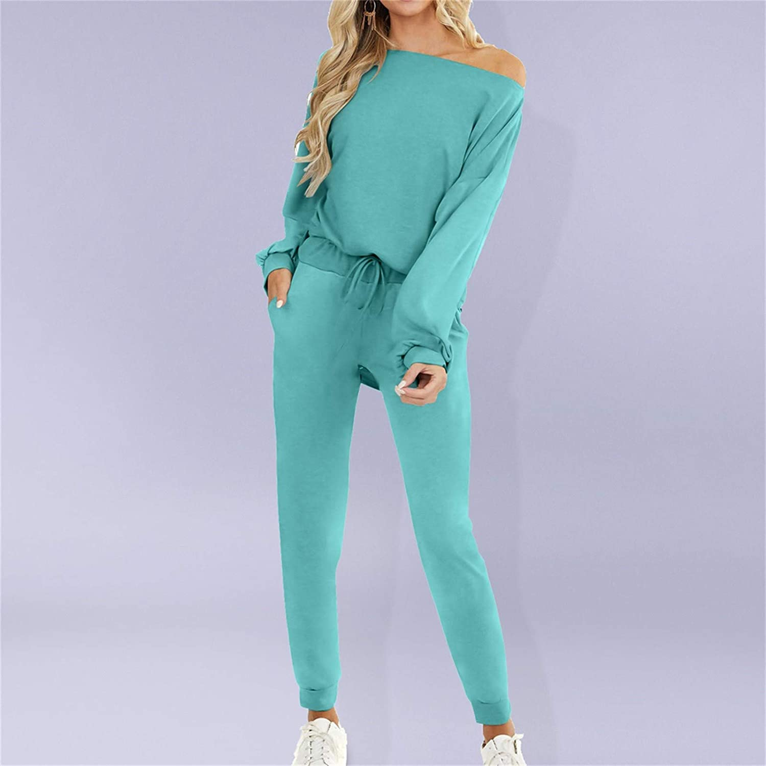 Mooua 2 Pcs Sports Yoga Suit Set for Women Fall Winter Casual Solid Color Long Sleeve Tops Trousers Tracksuit Running Gym Fitness Sportswear Green