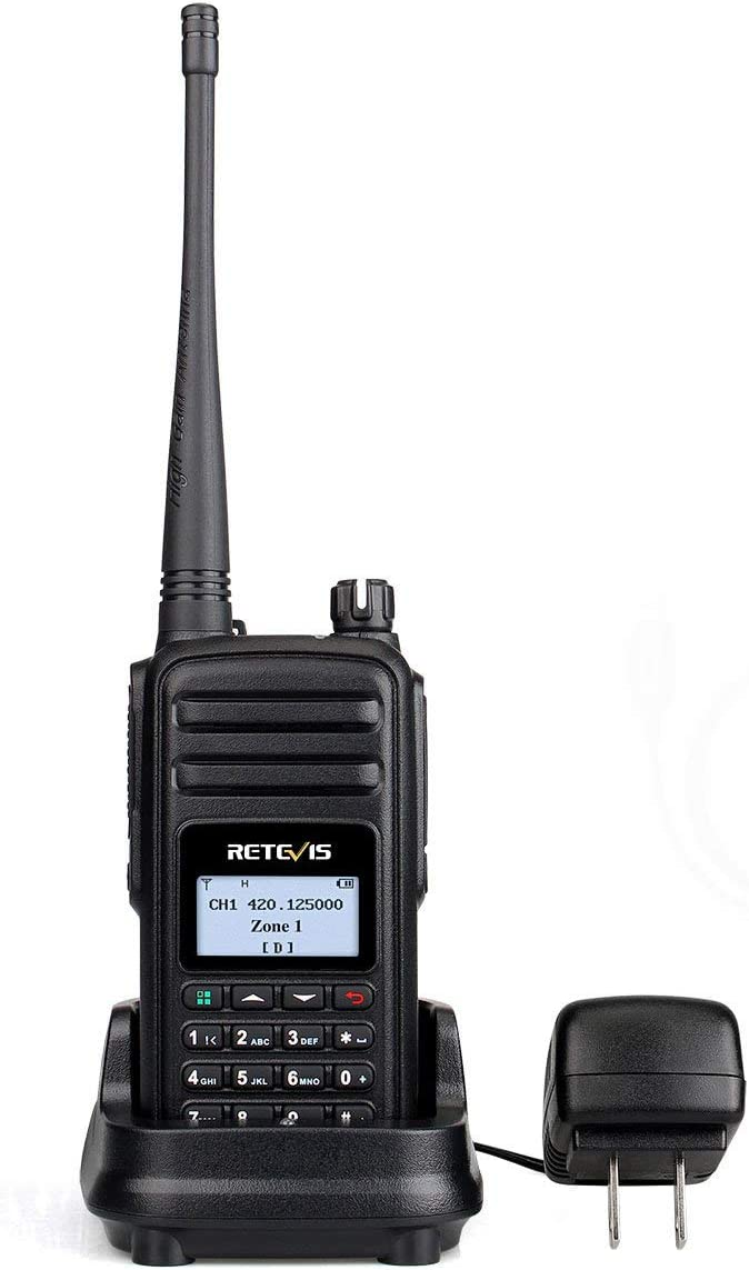 Retevis RT80 DMR Two-Way Radio Long Range 999 Ch Digital Analog Ham Amateur Radio UHF Encryption Group Call 1500mAh Rechargeable Color LCD 1 Pack
