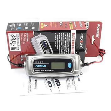 FOXSUR 12V 4A 6V 1A Cargador de Batería Inteligente DE 11 ...