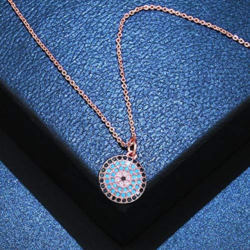 - Gabcus Turkish Round Evil Eye Necklace Micro Pave Zircon Eye Pendant Necklace Woman 925 Silver Jewelry Long Chain Necklace nken92 - (Metal Color: Rose Gold)