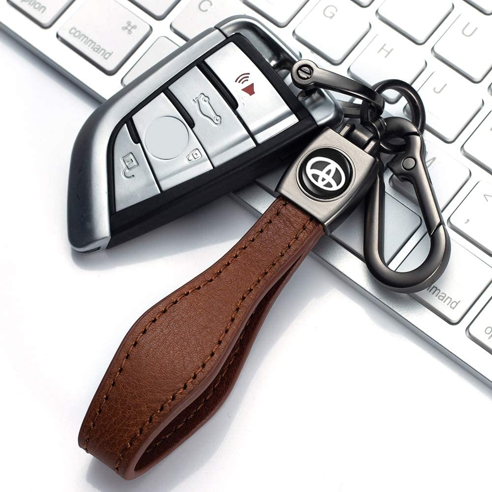Camry Brown Avalon Prius,Avalon Corolla RAV4 Highlander Key Chain Keyring Family Present for Man and Woman Key Chain Suit for Toyota Genuine Leather Car Logo Keychain Suit for Toyota Hatchback