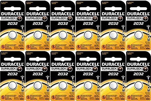 Duracell DL2032 Lithium Coin Battery, 2032 Size, 3V, 230mAh Capacity Pack of 12 by Duracell