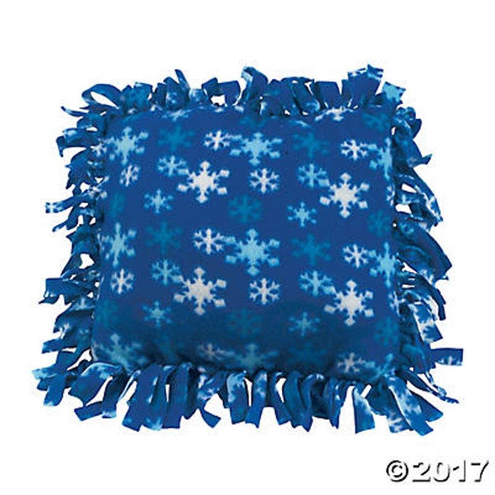 セットの6ブルー雪片冬フリースTied枕クラフトキット   B010Y5Z780