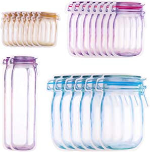 tiopeia 24Pcs Mason Jar Zipper Bags, Reusable Airtight Leak-Proof Food Saver Bags for Candy Snacks Jewelry Charms Electronic Accessories