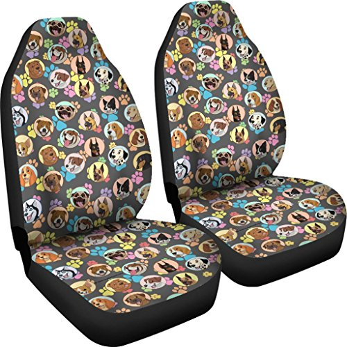 DealioHound Dogs Galore (Paw Prints) Microfiber Car Seat Covers/Protectors - Universal Fit (Set of 2) ()
