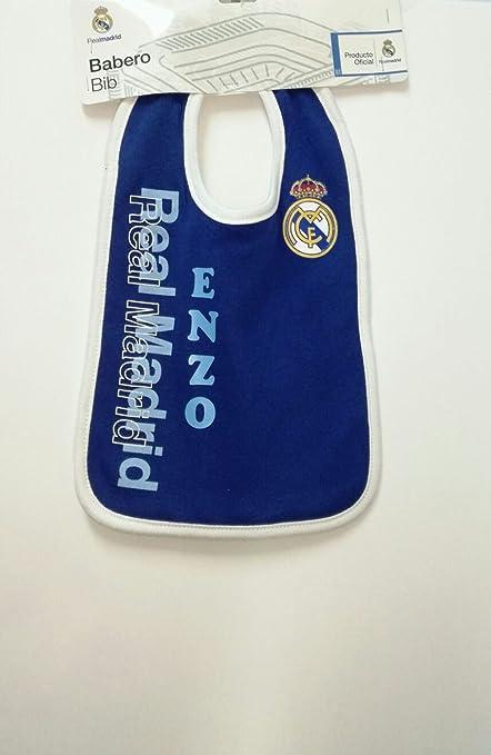 PRIMERAEDAD/ Babero bebé real Madrid Personalizado con nombre bordado/COLOR AZUL/
