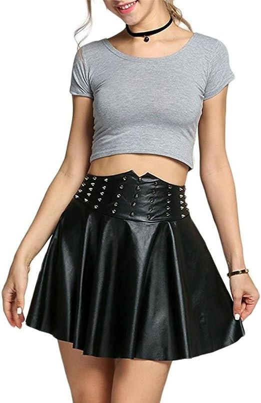 LLU falda plisada sexy de piel sintética con remaches y tachuelas ...