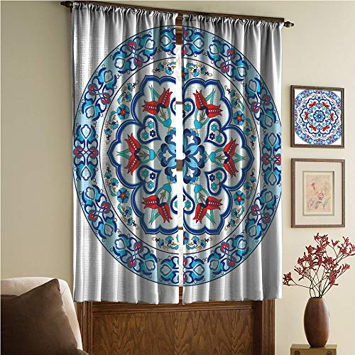- whitepurplecassie curtain Satin Silk Curtains Panels Suitable Fornursery,Bedroom,Living Room,Kitchen Cafe,Sheer Curtains,Reduce noisel,Style Art with Tulip Period Ceramic Floral Art 108Wx90L Inch