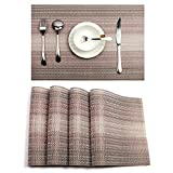 PAUWER Placemats for Kitchen Table Woven Vinyl Non-slip Heat Insulation Placemat Washable Table Mats Set of 6 (Coffee)