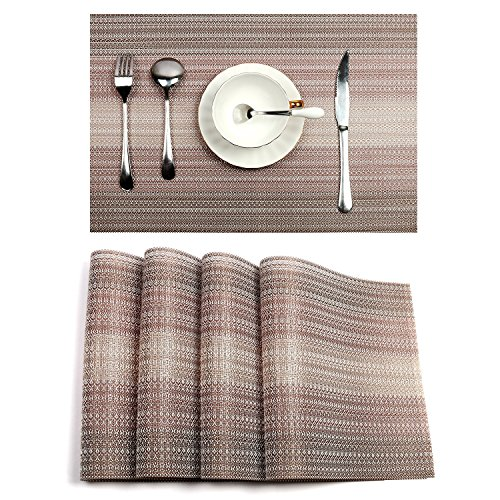 PAUWER Placemats for Dining Table Woven Vinyl Non-slip Heat Insulation Placemat Washable Table Mats Set of 4 (Coffee)