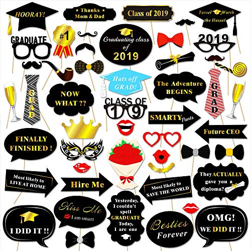 (Graduation Photo Booth Props (50Count), Konsait Large Graduation Photo Props Class of 2019 Grad Decor with Sticks for Kids Boy Girl, Black and Gold, for Graduation Party Favors Supplies)
