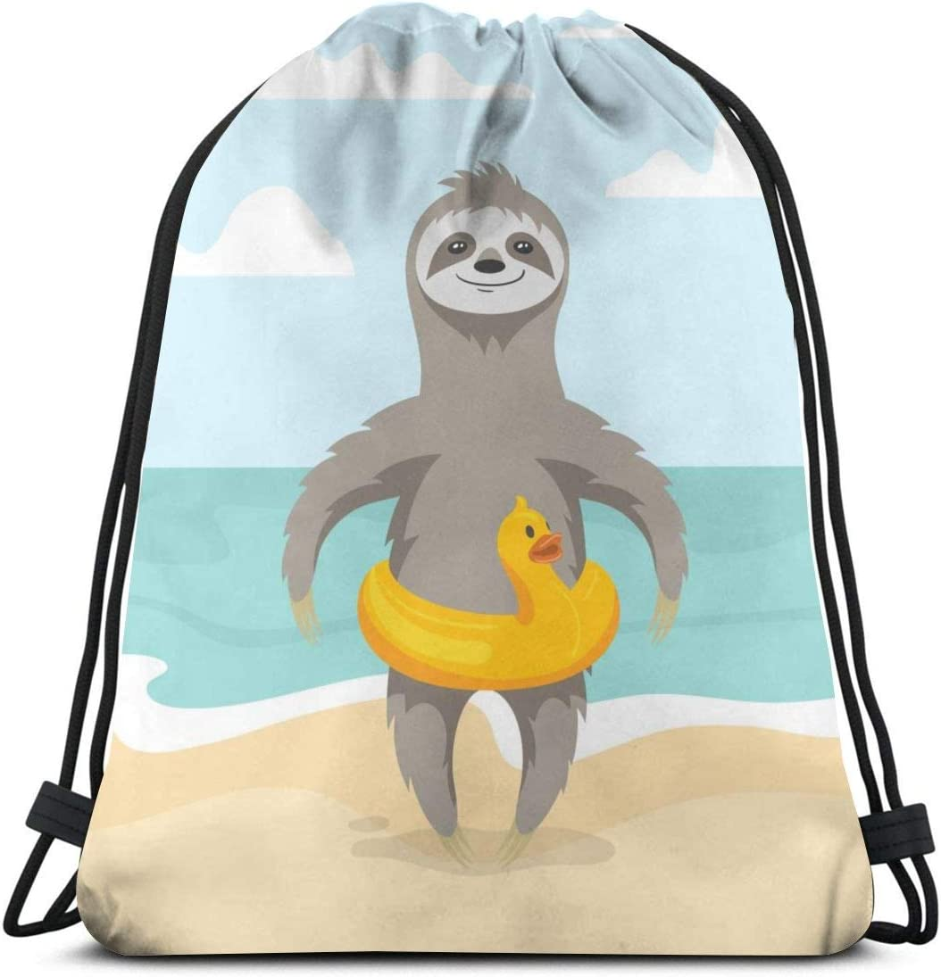 LOKIDVE Women's Funny Sloth On The Beach Drawstring Backpack Travel Gym Party Favor Bags