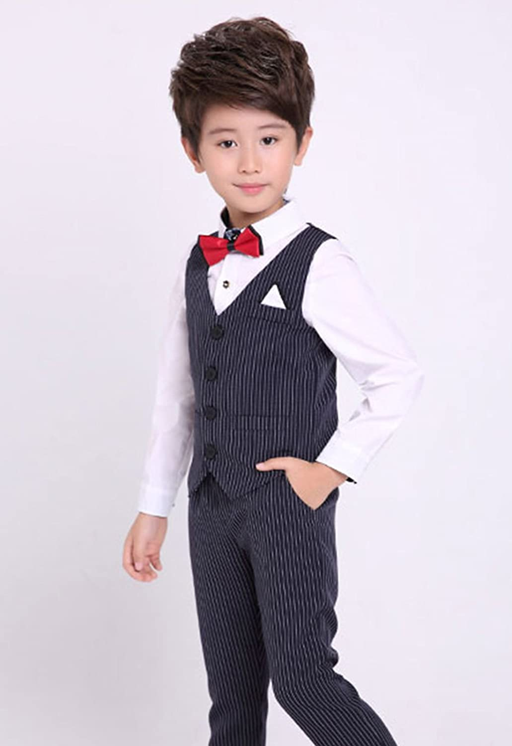 Luobobeibei Boys Suits 3 Pieces Slim Fit Fashion Formal Dress