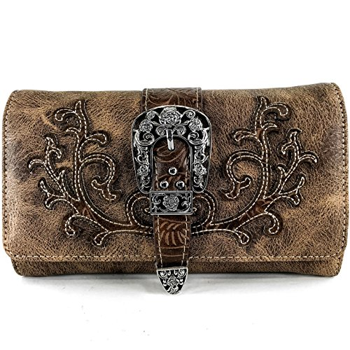 Justin West Tooled Laser Cut Leather Floral Embroidery Rhinestone Buckle Studded Shoulder Concealed Carry Tote Style Handbag Purse (Brown Brown Wallet) by Justin West