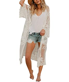e07a6f059ee Women's Bathing Suit Kimono Beach Cover Up Lace Crochet Pool Swimwear (White,  M)