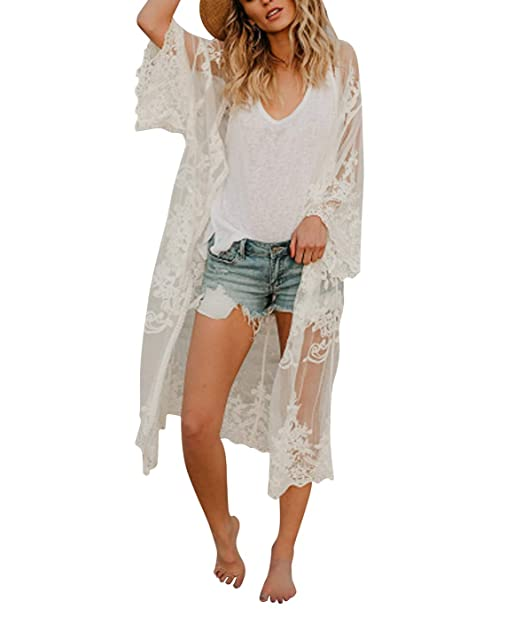 Amazon.com: Traje de baño Kimono para mujer, de encaje, para ...
