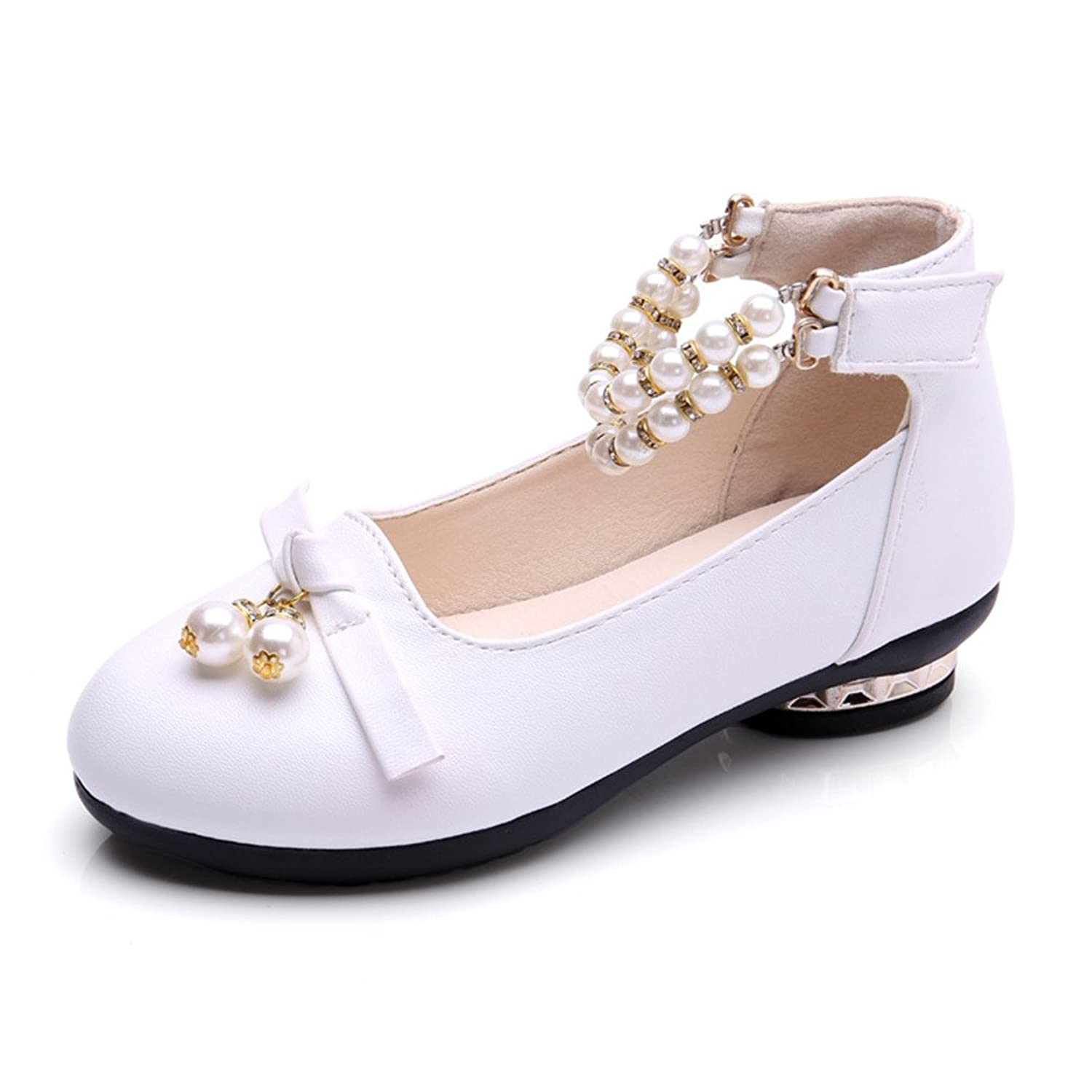 763088b97 OURDREAM Toddler/Little Girl Dress Ballet Flat Kids Pearl Ankle Strap Faux  Suede Shoes