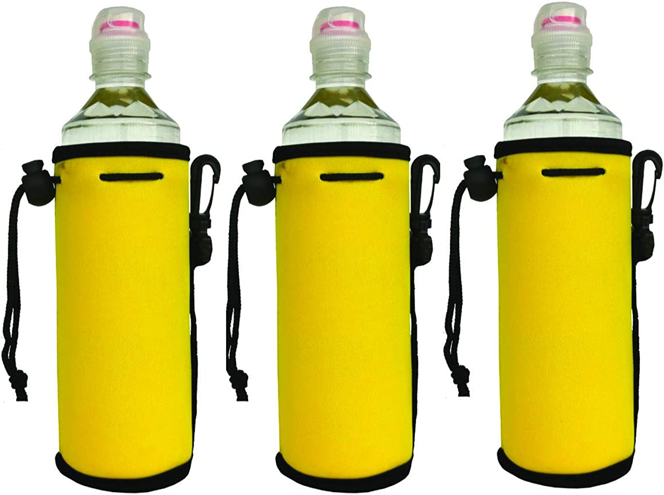 Neoprene Insulated Water Drink Bottle Carrier Cover Sleeve Tote Bag Pouch Holder With Handy Drawstring for Kid Children Women Men Biker Travel Cycling Climbing Sports (3 packs-Yellow)