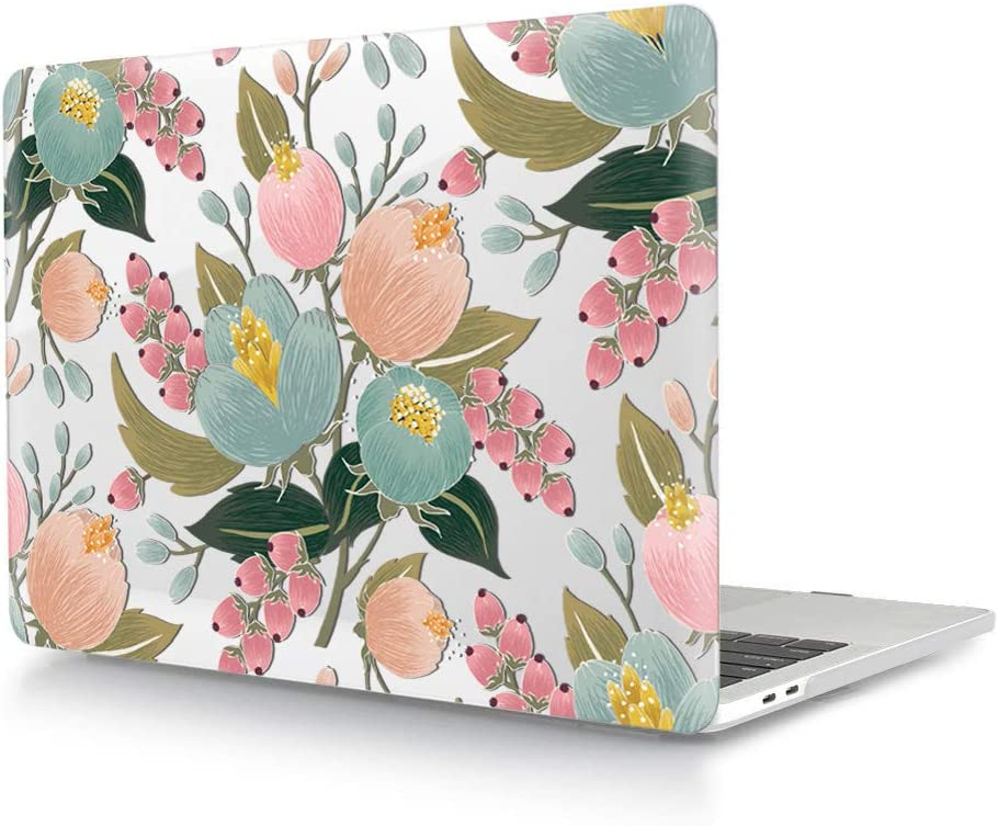 """HRH Hand Painted Flower Bud Clear Glossy Design Laptop Body Shell Protective Hard Case for MacBook Newest Air 13"""" Inch with Retina Display fit Fingerprint Touch ID (Model A1932,2018 Release)"""