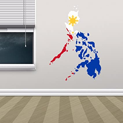 Amazon philippine flag map of philippines wall vinyl sticker philippine flag map of philippines wall vinyl sticker custom home decoration wall sticker wedding decoration pvc gumiabroncs Image collections